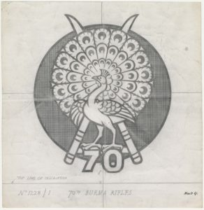 70th Burma Rifles, peacock over crossed swords