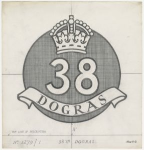 38th Dogras, crown and text