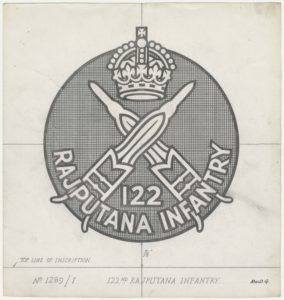 122nd Rajputana Infantry, crossed bullets below crown