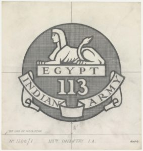 "113th Infantry Indian Army, Sphinx above ""EGYPT"""
