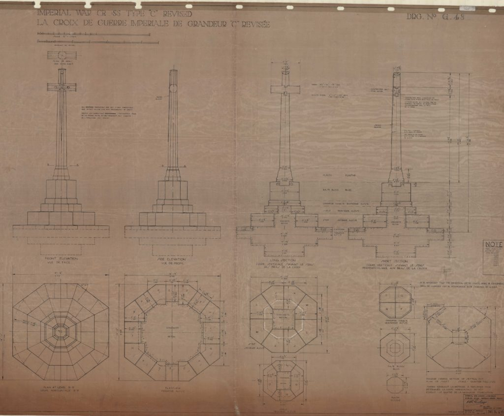 Technical drawings of monument including cross sections