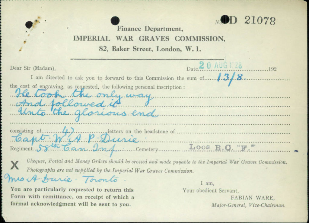 Standard Imperial War Graves Commission form