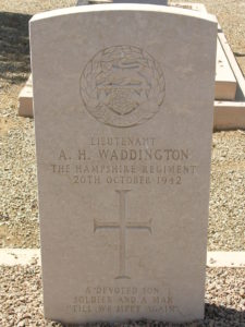 Christian headstone, white stone, A.H. Waddington, The Hampshire Regiment